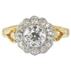 1.75 Carat Edwardian Diamond Cluster Engagement 14K Platinum Ring