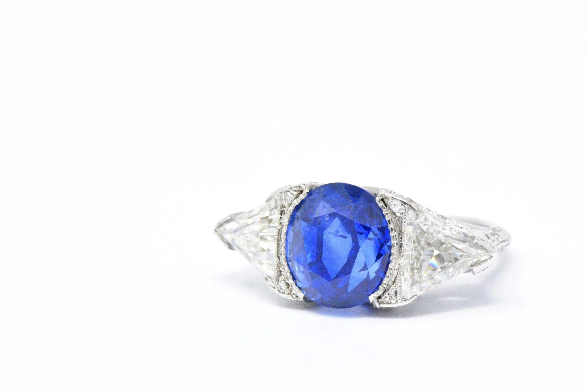 natural pin ring blue elegant by jewellery in sapphire gold charmes