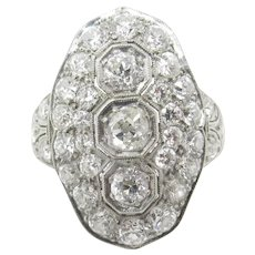 Impressive Art Deco Platinum Diamond Cocktail Ring