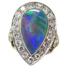 18k White Gold Edwardian Black Opal And Diamond Filigree Ring - Red Tag Sale Item