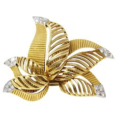 1950's Cartier Paris 18K Gold Diamond Flower Fur Clip Brooch
