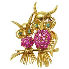 1960's 18k Ruby and Emerald Owl Brooch