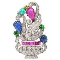Art Deco Platinum Tutti Frutti Brooch Sapphire Emerald Ruby Demantoid Garnet Diamond