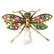 Art Nouveau Diamond Gemstone Bug Pin