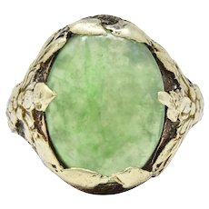 Arts And Crafts 14k Green Gold And Jade Ring