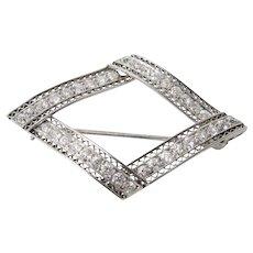 Black Starr and Frost art deco platinum filigree diamond brooch