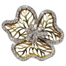 Estate Vintage Cartier 18K Diamond Flower Brooch