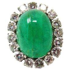 14k White Gold Large Emerald & Diamond Ring
