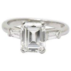 Stunning Platinum 1.83 Carat Emerald Cut Diamond Engagement Ring GIA