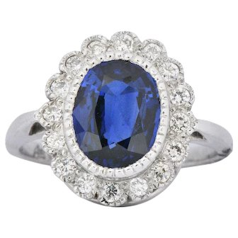 Cute Platinum Natural Sapphire Diamond Cluster Alternative Engagement Ring
