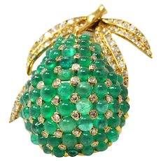 Chic 1960's French Emerald Diamond Pear Brooch