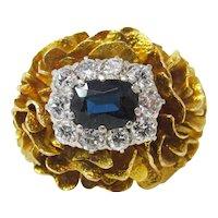 Vintage 18k Yellow Gold Blue Sapphire And Diamond Ring Circa 1970