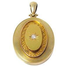 Large Victorian 14k Diamond Locket Pendant