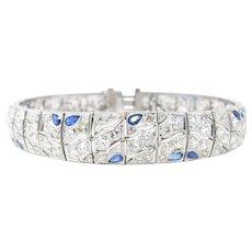 Stunning Platinum Art Deco Sapphire And Diamond Bracelet