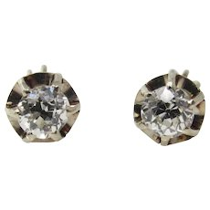 Old Mine Cut 1.30 Carat Total Weight Diamond Stud Earrings
