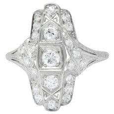 Art Deco .50 CTW Diamond Platinum Alternative Engagement Cocktail Ring