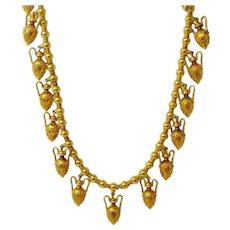 Wonderful 18k Victorian Etruscan Urn Necklace