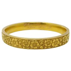 Krementz Art Nouveau Floral 14k Yellow Gold Slip On Bangle