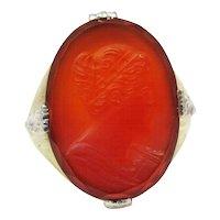 Cool Men's Art Deco Carnelian Intaglio Ring