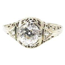Stunning 18k White Gold Art Deco Filigree Diamond Ring