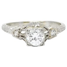 Stunning Art Deco Platinum Diamond Engagement Ring