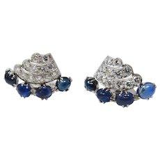 Pair Of Platinum Diamond Sapphire Art Deco Clips