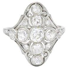 Superb Art Deco 1.75 CTW Diamond Platinum Cocktail Ring