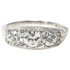 Platinum Art Deco Filigree 3 Diamond Ring