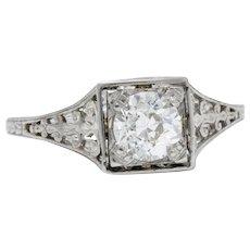 .75 Carat Platinum And Diamond Art Deco Filigree Engagement Ring