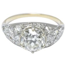 3.34 Carat Edwardian Platinum Topped 18k Yellow Gold Diamond Engagement Ring GIA