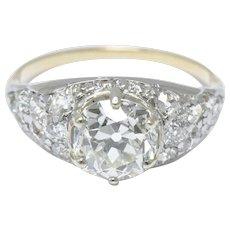 3.34 Carat Edwardian Platinum Topped 18k Yellow Gold Diamond Engagement Ring GIA