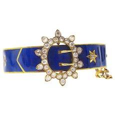 Victorian Blue Enamel And Mine Cut Diamond Buckle Bracelet
