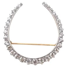 14k and Platinum Diamond Edwardian Horseshoe Brooch