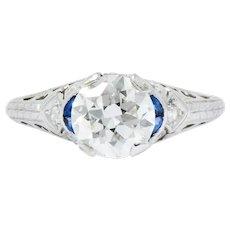1.62 Carat Art Deco Platinum Diamond Sapphire Engagement Ring Gia