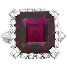 1950's Bailey Banks & Biddle 13.37 Rubellite Tourmaline Diamond Platinum Cocktail Ring