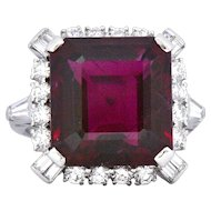 1950's Bailey Banks & Biddle Rubelite Tourmaline Diamond Ring