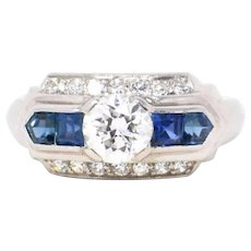 Chic 1930's Platinum Diamond Art Deco Sapphire Alternative Engagement Ring