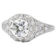 1.66 Carat Art Deco Platinum Diamond Engagement Ring Gia