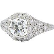 Sensational Art Deco Platinum Diamond Engagement Ring Gia