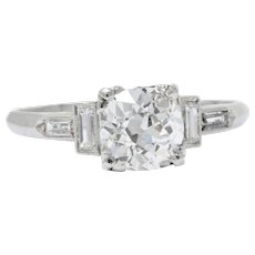 1.71 Carat Platinum Art Deco Diamond Engagement Ring GIA Certified