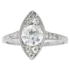 1930's 1.06 CTW  Diamond Platinum Alternative Engagement Ring GIA