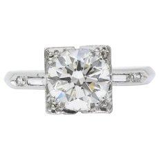 1.75 Carat Opulent Platinum 1950's Diamond Engagement Ring GIA