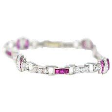 Shimmering McTeigue Art Deco Platinum Diamond Ruby Bracelet