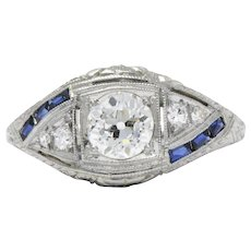 Intricate 18K Gold Art Deco Diamond Sapphire Filigree Ring