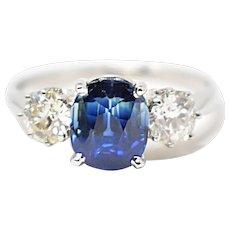 Intense Platinum 1940's Natural No Heat Sapphire Diamond 3 Stone Ring