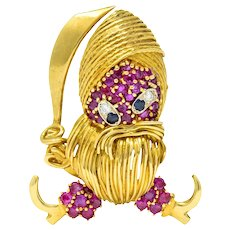 Whimsical Ruby Sapphire Diamond 18 Karat Gold Vintage Pirate Brooch