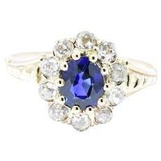 .97 Victorian 14K Yellow Gold Sapphire Old Mine Diamond Cluster Alternative Ring