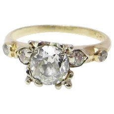 14k Old Mine Cut Diamond Engagement Ring