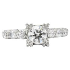 Stellar .80 Carat Mid-Century Platinum Diamond Engagement Ring