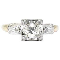 Retro 0.55 CTW Diamond Platinum-Topped 14 Karat Gold Engagement Ring